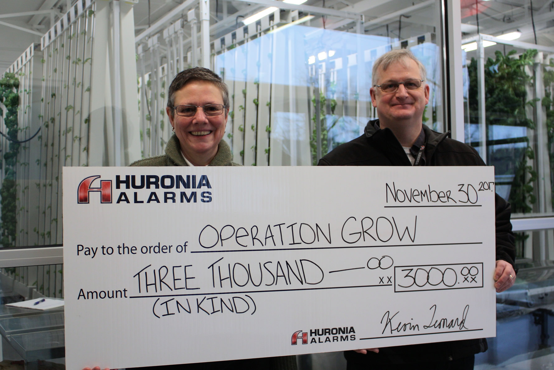 Huronia Alarm donation-in-kind to Operation Grow